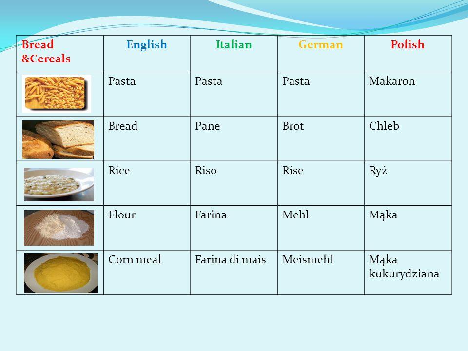 Bread &Cereals EnglishItalianGermanPolish Pasta Makaron BreadPaneBrotChleb RiceRisoRiseRyż FlourFarinaMehlMąka Corn mealFarina di maisMeismehlMąka kukurydziana