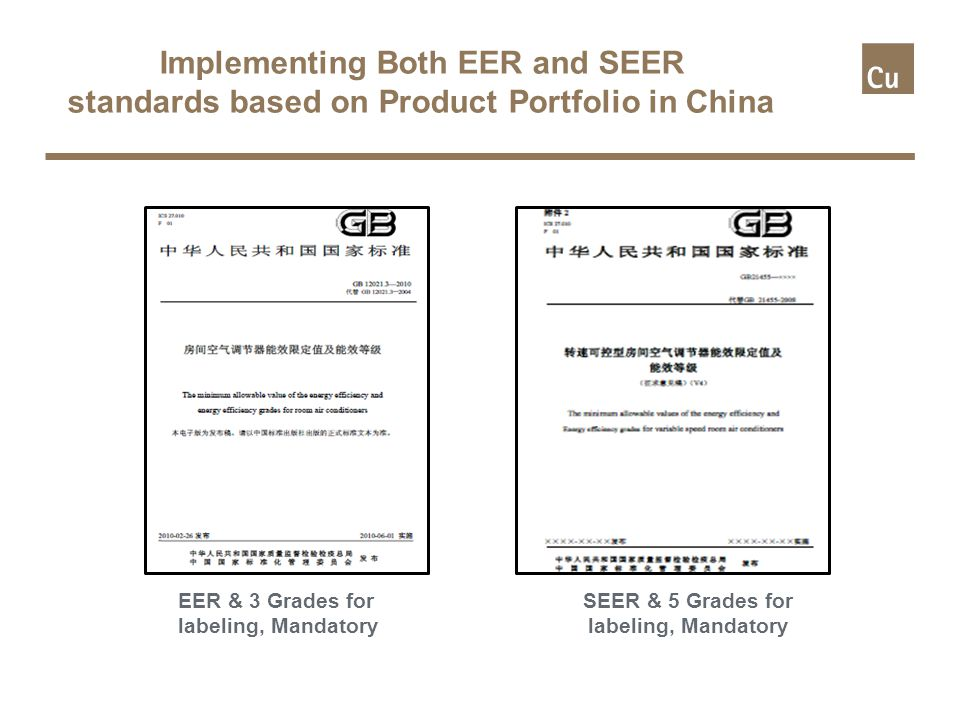Implementing Both EER and SEER standards based on Product Portfolio in China EER & 3 Grades for labeling, Mandatory SEER & 5 Grades for labeling, Mandatory