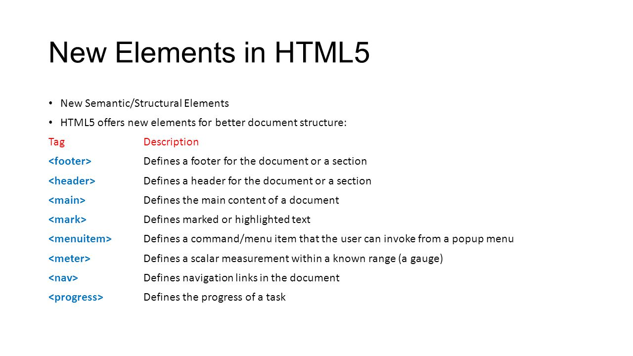 New Elements in HTML5 New Semantic/Structural Elements HTML5 offers new elements for better document structure: TagDescription Defines a footer for th