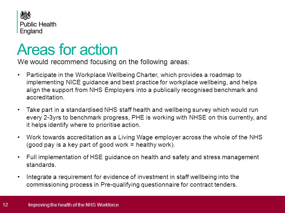 Areas for action We would recommend focusing on the following areas: Participate in the Workplace Wellbeing Charter, which provides a roadmap to implementing NICE guidance and best practice for workplace wellbeing, and helps align the support from NHS Employers into a publically recognised benchmark and accreditation.