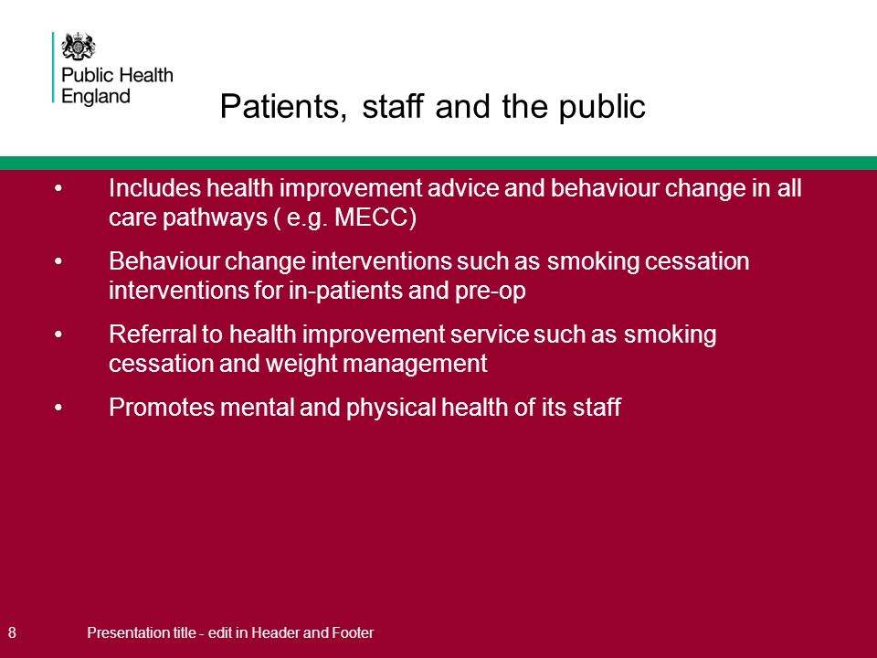Includes health improvement advice and behaviour change in all care pathways ( e.g. MECC) Behaviour change interventions such as smoking cessation int