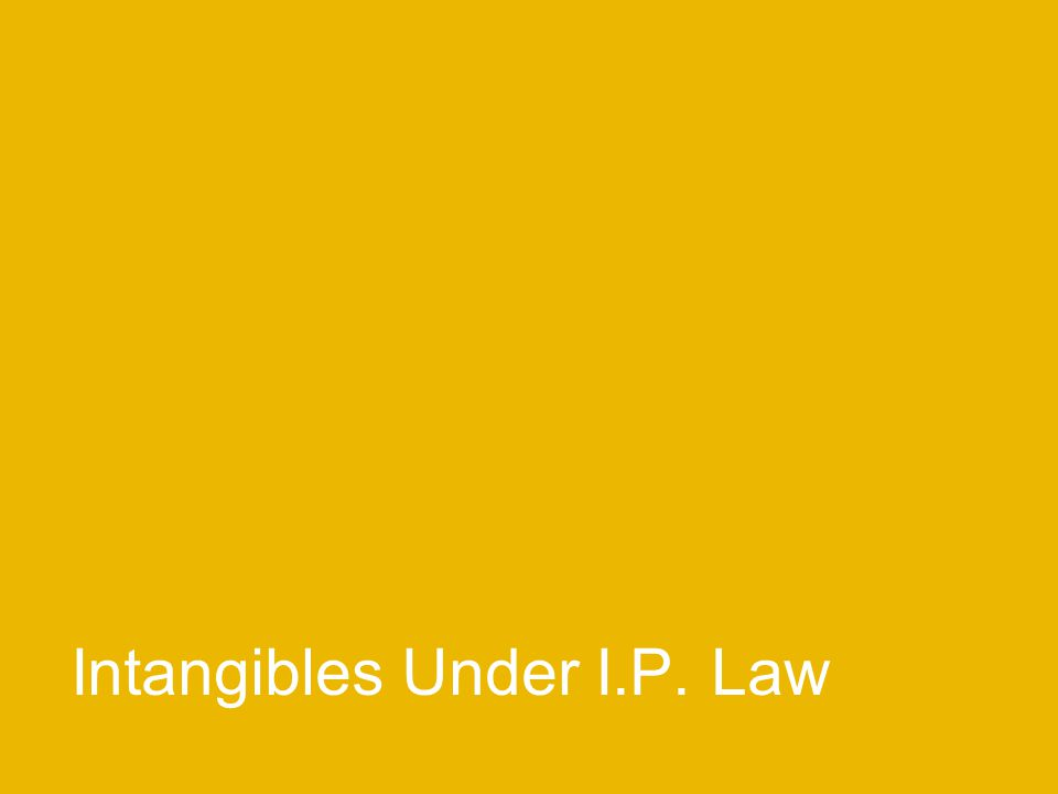 Intangibles Under I.P. Law