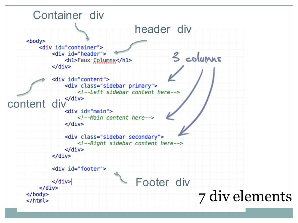 header div Footer div Container div content div 7 div elements