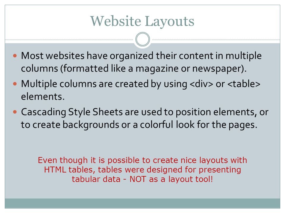Website Layouts Most websites have organized their content in multiple columns (formatted like a magazine or newspaper).