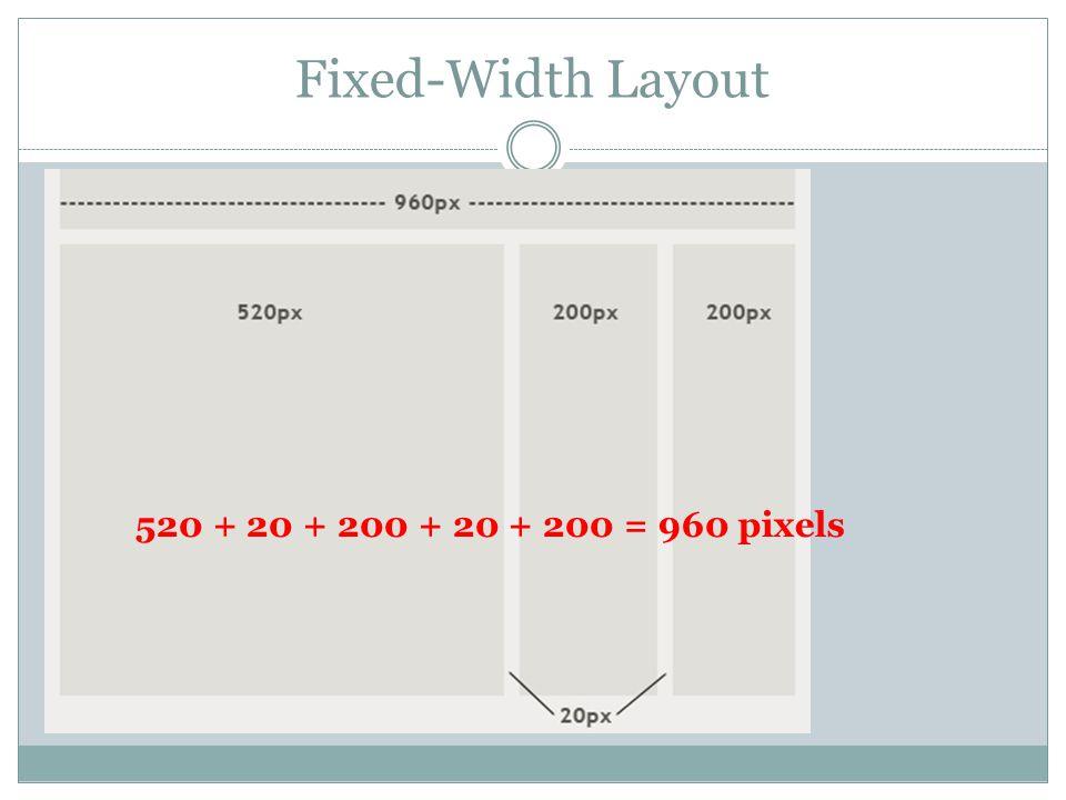 Fixed-Width Layout 520 + 20 + 200 + 20 + 200 = 960 pixels