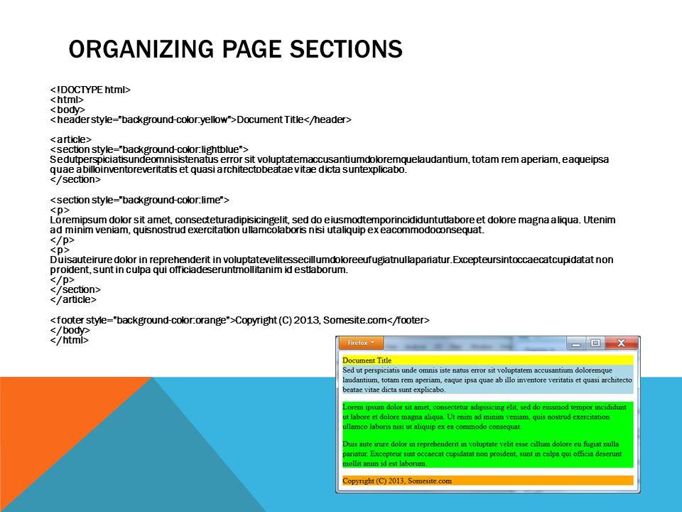 ORGANIZING PAGE SECTIONS Document Title Sedutperspiciatisundeomnisistenatus error sit voluptatemaccusantiumdoloremquelaudantium, totam rem aperiam, ea