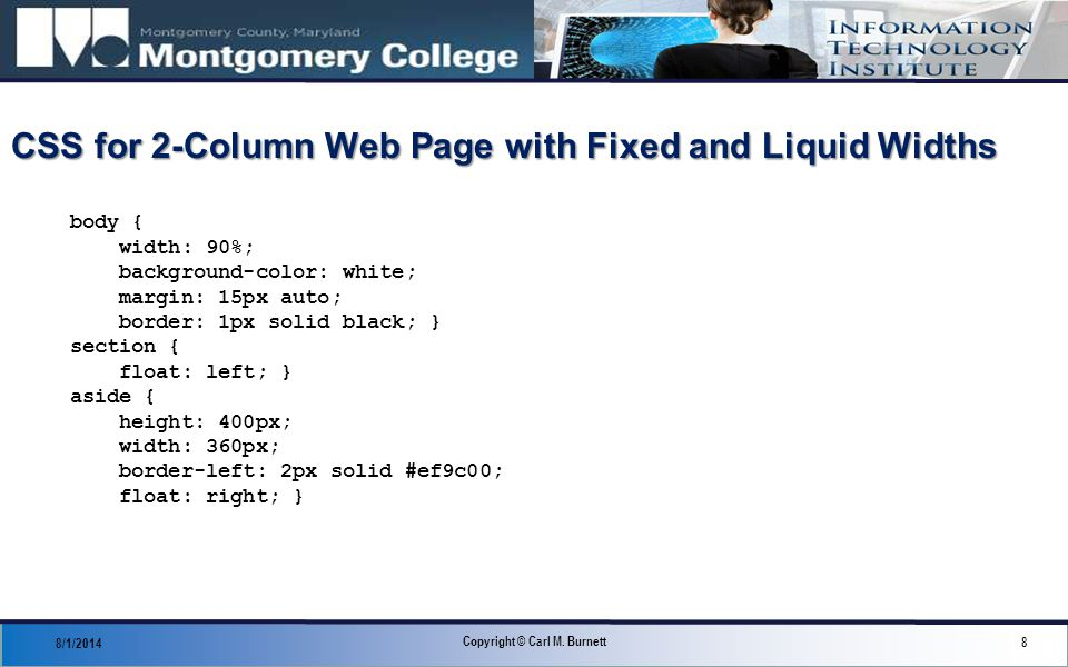 CSS for 2-Column Web Page with Fixed and Liquid Widths 8/1/2014 8 Copyright © Carl M.
