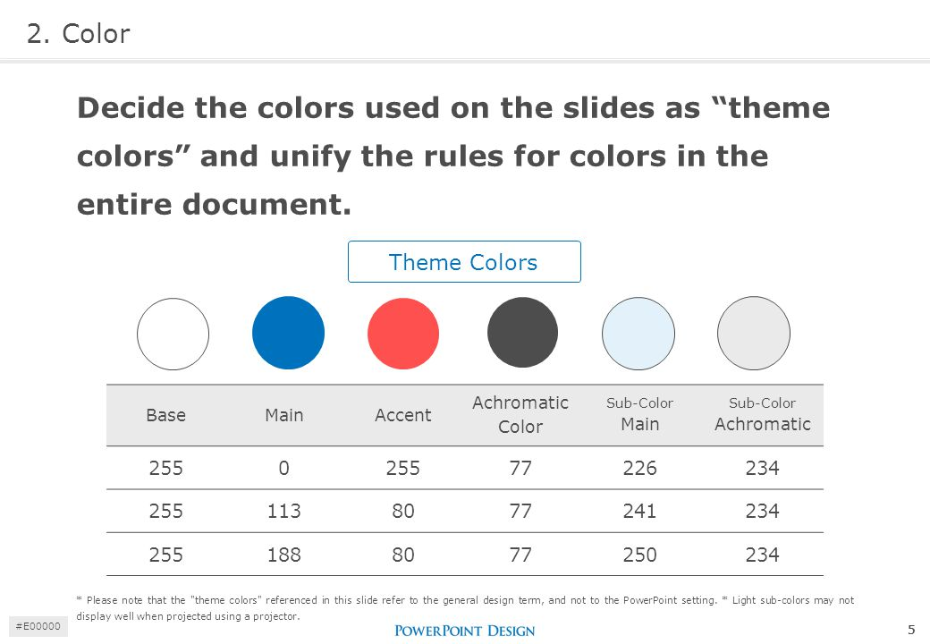 "2. Color Decide the colors used on the slides as ""theme colors"" and unify the rules for colors in the entire document. Theme Colors BaseMainAccent Ach"
