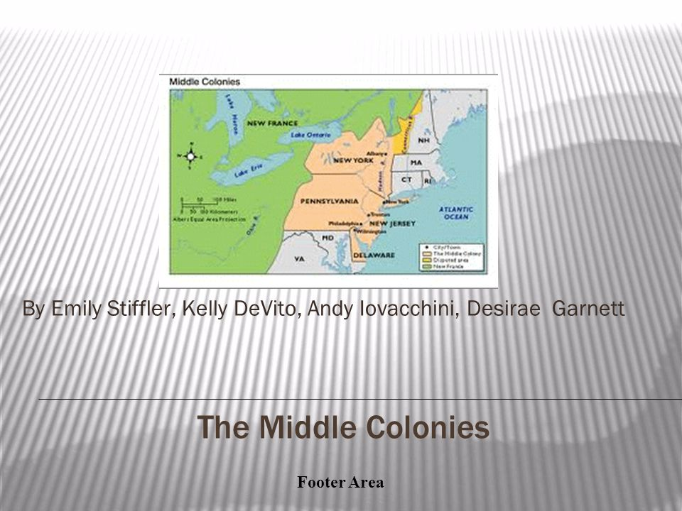 Footer Area New Jersey ▪Established in 1664 ▪Lord Berkeley and Sir George Carteret started the colony after being given land by the Duke of York.