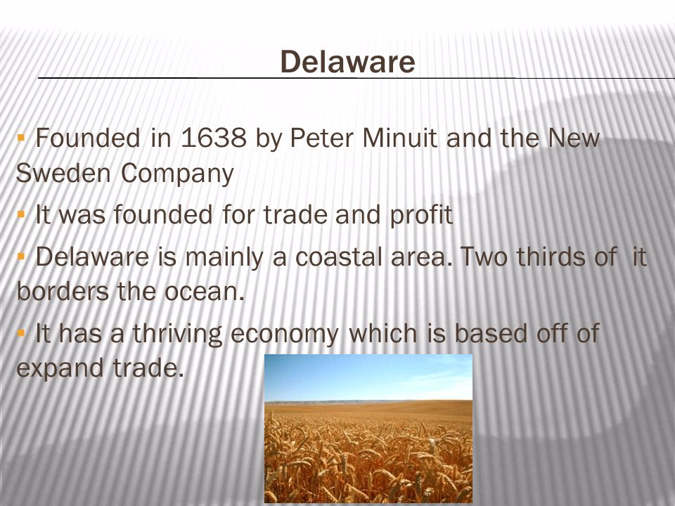 Footer Area Delaware ▪Founded in 1638 by Peter Minuit and the New Sweden Company ▪It was founded for trade and profit ▪Delaware is mainly a coastal area.