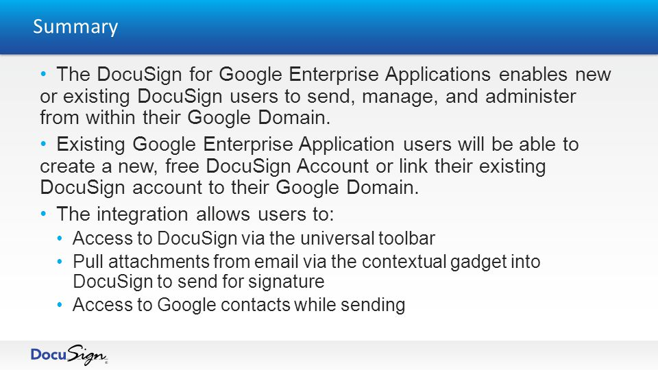 After successfully associating an existing account or creating a brand new, free account, the administrator will have the ability to go to their DocuSign preferences, Upgrade, or Return to their Google Dashboard Configuration Page