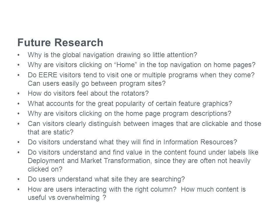 eere.energy.gov Future Research Why is the global navigation drawing so little attention.