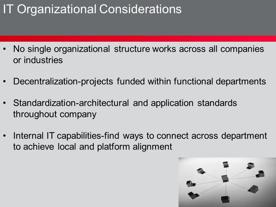 No single organizational structure works across all companies or industries Decentralization-projects funded within functional departments Standardiza
