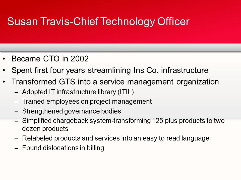 Became CTO in 2002 Spent first four years streamlining Ins Co. infrastructure Transformed GTS into a service management organization –Adopted IT infra
