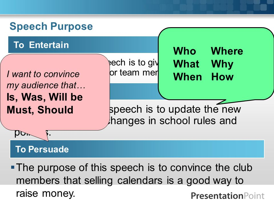 Speech Purpose To Entertain  The purpose of this speech is to give a humorous review of the swimming season for team members and fans.