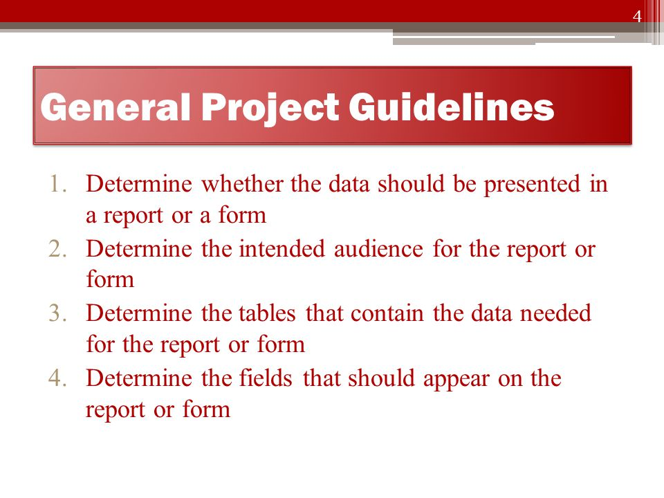 General Project Guidelines 5.Determine the organization of the report or form 6.Determine the format and style of the report or form 7.Review the report or form after it has been in operation to determine whether any changes are warranted 5