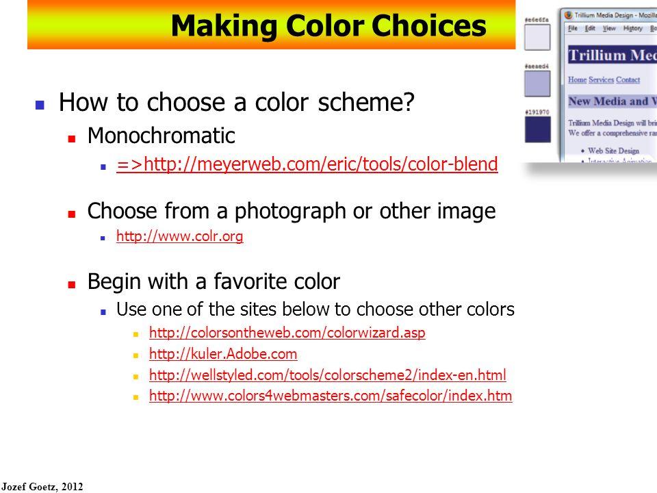 Jozef Goetz, 2012 20 Web Color Palette