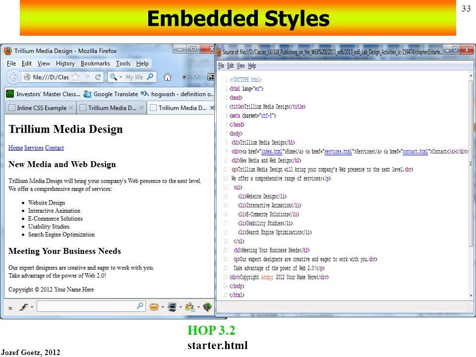 Jozef Goetz, 2012 32 Embedded Styles