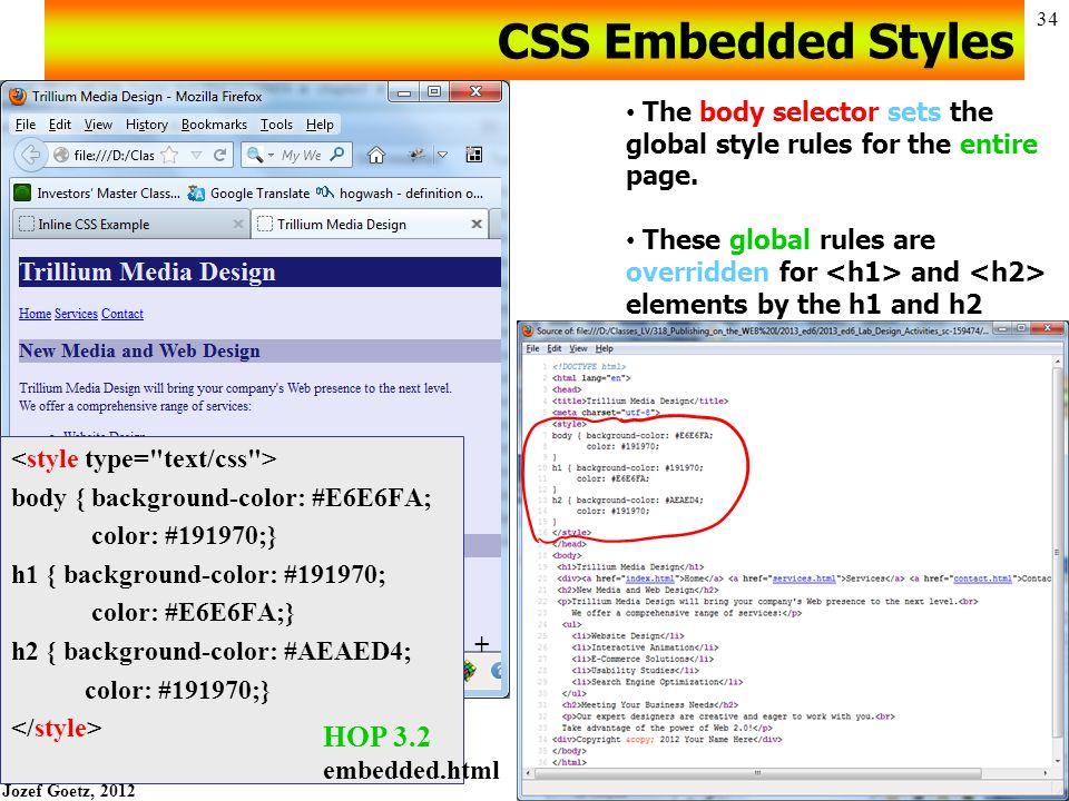 Jozef Goetz, 2012 33 Embedded Styles HOP 3.2 starter.html