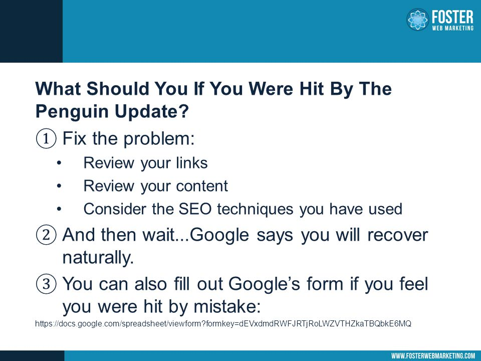 What Should You If You Were Hit By The Penguin Update.