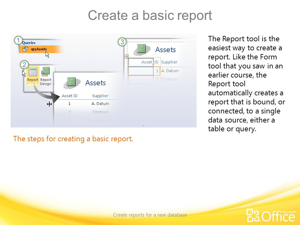 Create a basic report Create reports for a new database The steps for creating a basic report.