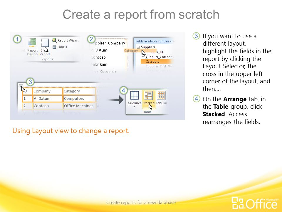 Create a report from scratch Create reports for a new database Using Layout view to change a report.