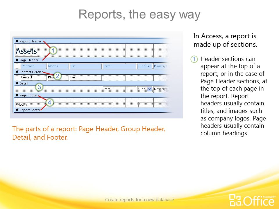 Reports, the easy way Create reports for a new database The parts of a report: Page Header, Group Header, Detail, and Footer.