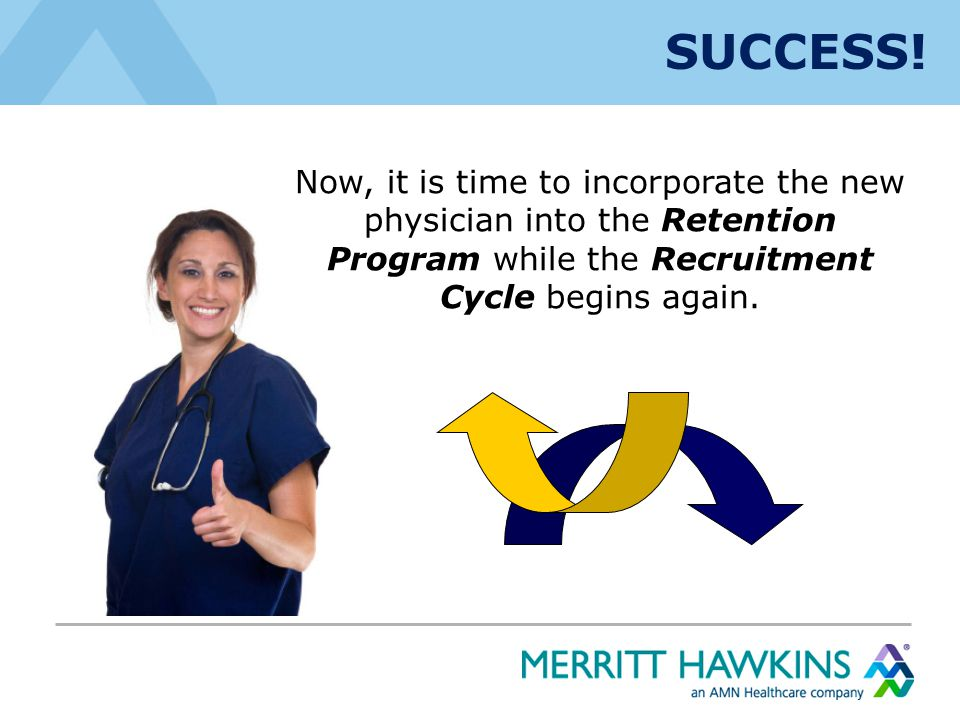 SUCCESS! Now, it is time to incorporate the new physician into the Retention Program while the Recruitment Cycle begins again.