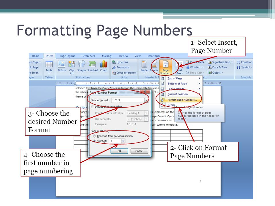 Formatting Page Numbers 1- Select Insert, Page Number 2- Click on Format Page Numbers 3- Choose the desired Number Format 4- Choose the first number i