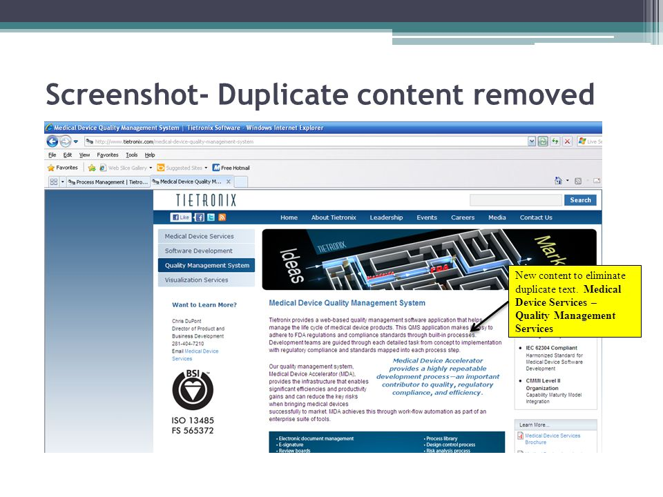 Screenshot- Duplicate content removed New content to eliminate duplicate text.
