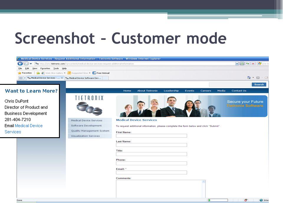 Screenshot – Customer mode