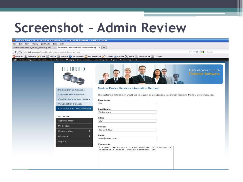 Screenshot – Admin Review