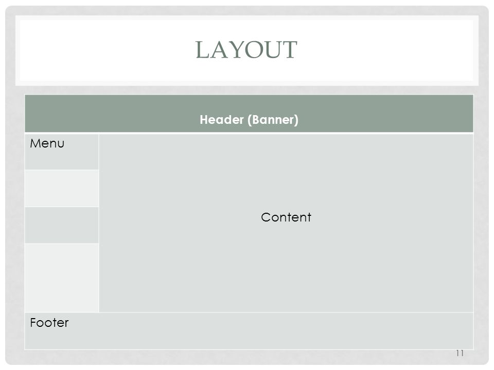 HOW TO CREATE THIS WEBPAGE Create layout using a table Add a banner to the Header area Add Copyright to the Footer area Add Rollover Image object with links to the Menu area Add contents as desired in the Content area 12