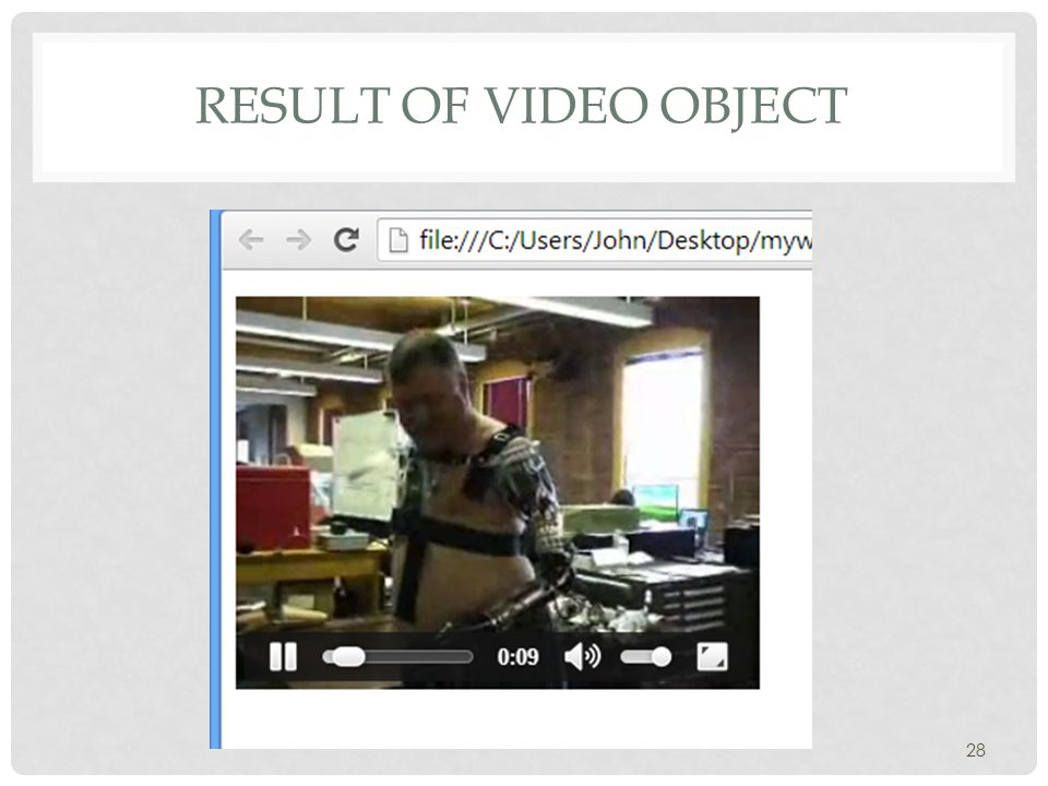 RESULT OF VIDEO OBJECT 28