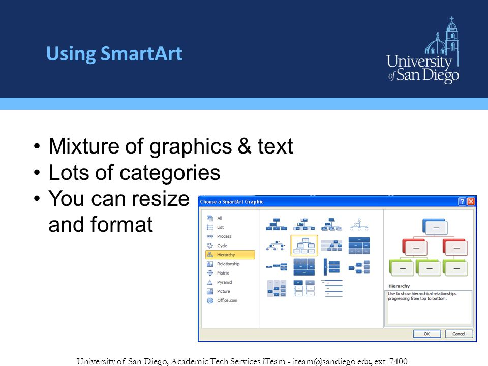Using SmartArt University of San Diego, Academic Tech Services iTeam - iteam@sandiego.edu, ext.