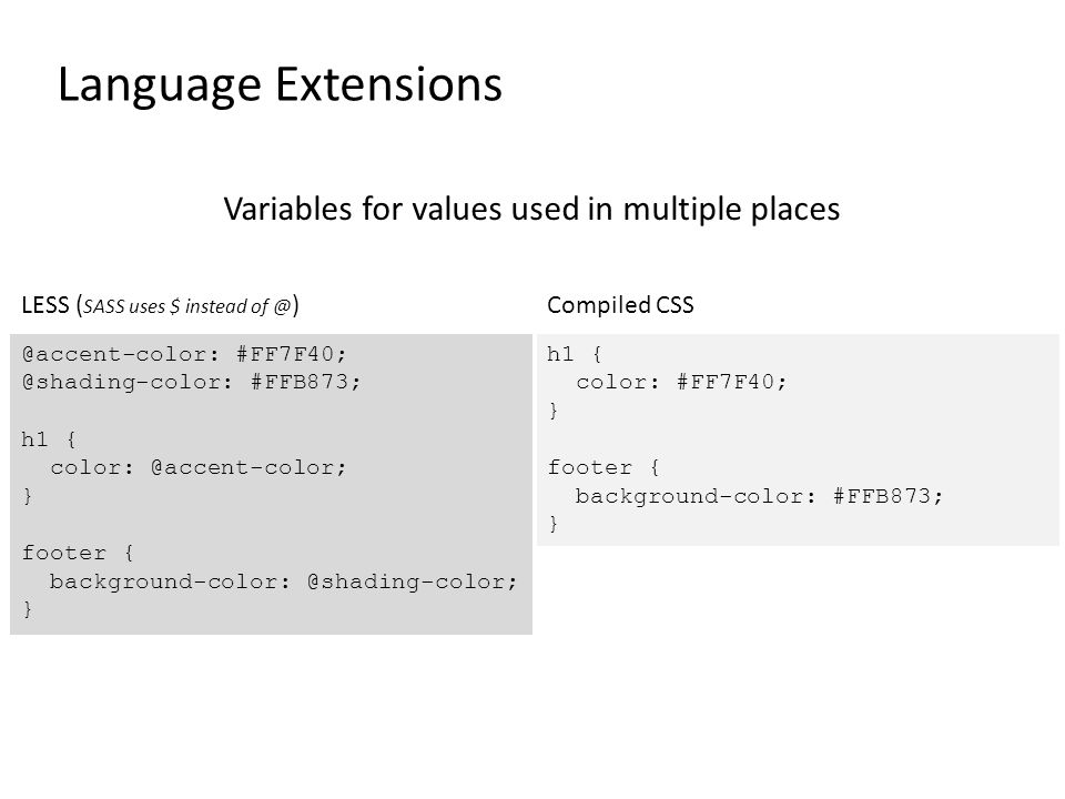 Language Extensions Variables for values used in multiple places @accent-color: #FF7F40; @shading-color: #FFB873; h1 { color: @accent-color; } footer { background-color: @shading-color; } LESS ( SASS uses $ instead of @ ) h1 { color: #FF7F40; } footer { background-color: #FFB873; } Compiled CSS