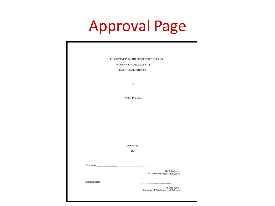 Approval Page