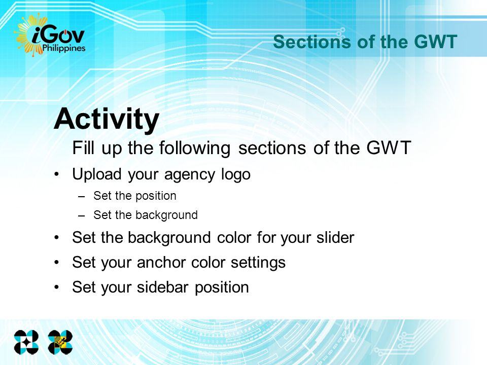 Activity Fill up the following sections of the GWT Upload your agency logo –Set the position –Set the background Set the background color for your slider Set your anchor color settings Set your sidebar position