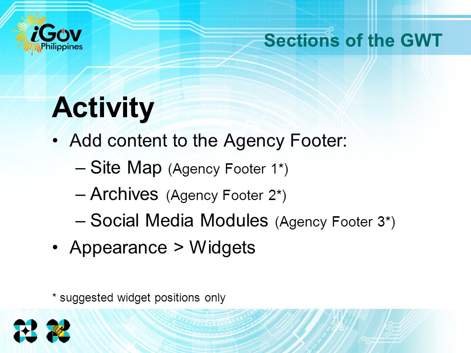Sections of the GWT Activity Add content to the Agency Footer: –Site Map (Agency Footer 1*) –Archives (Agency Footer 2*) –Social Media Modules (Agency Footer 3*) Appearance > Widgets * suggested widget positions only