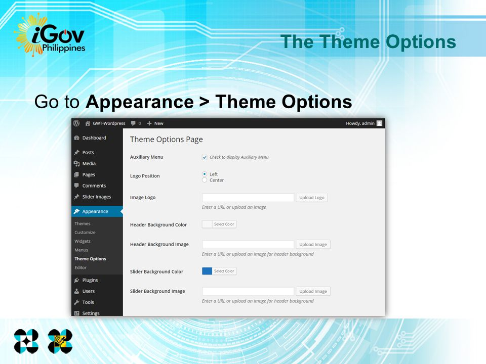 Go to Appearance > Theme Options The Theme Options
