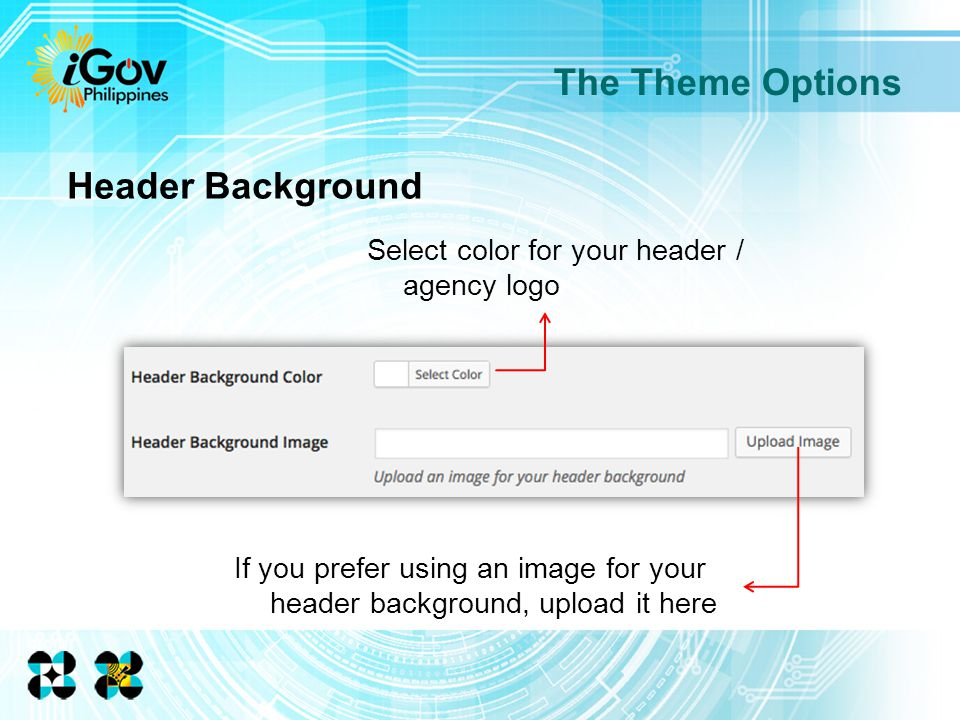 If you prefer using an image for your header background, upload it here The Theme Options Select color for your header / agency logo Header Background