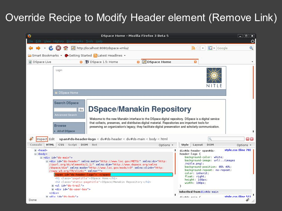 Override Recipe to Modify Header element (Remove Link)