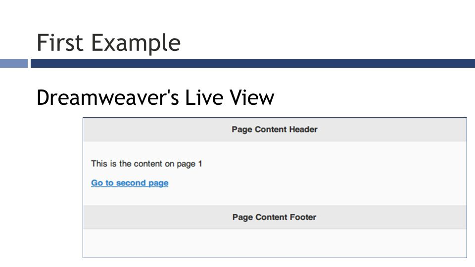 First Example Dreamweaver s Live View