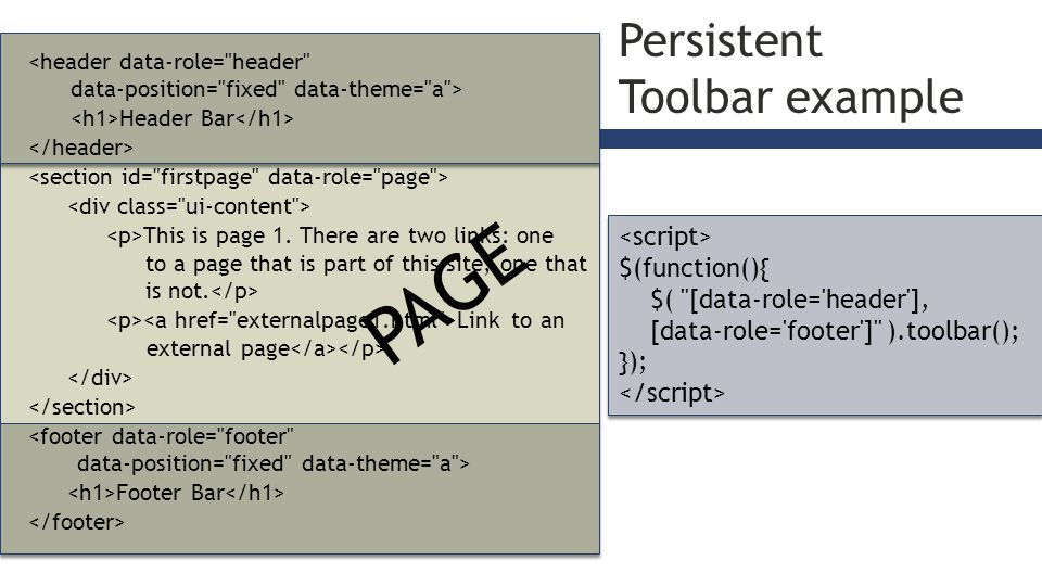 Persistent Toolbar example Header Bar This is page 1.