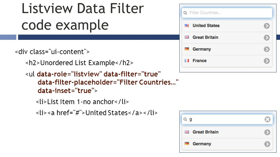 Unordered List Example List Item 1-no anchor United States Listview Data Filter code example