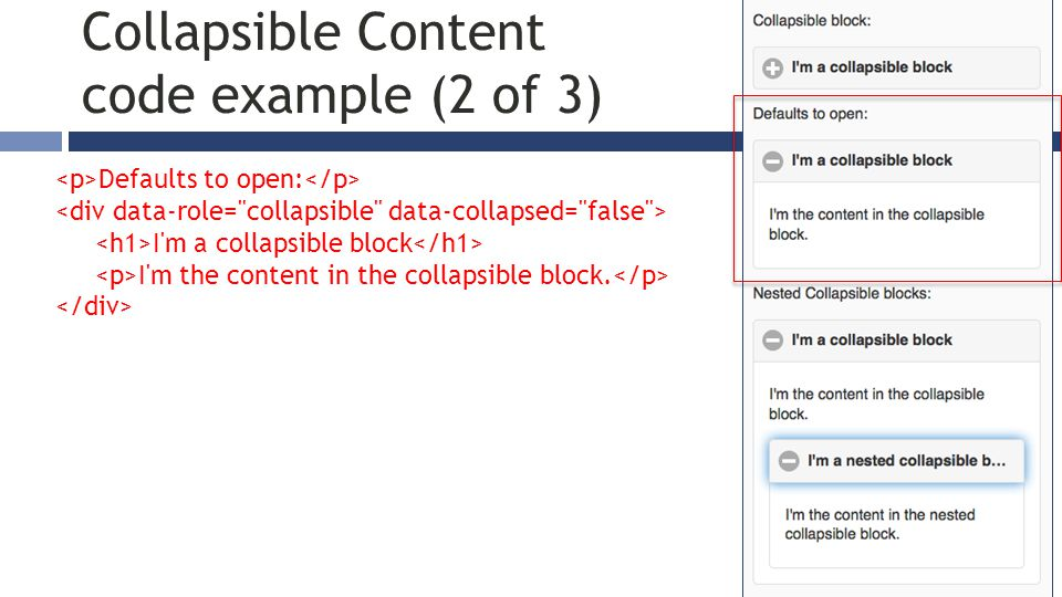 Defaults to open: I m a collapsible block I m the content in the collapsible block.