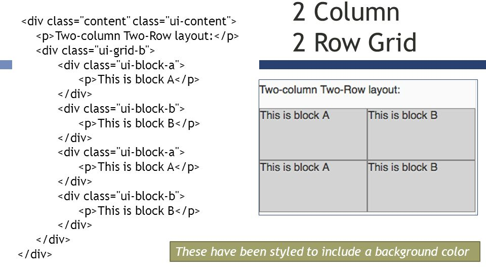 2 Column 2 Row Grid Two-column Two-Row layout: This is block A This is block B This is block A This is block B These have been styled to include a background color