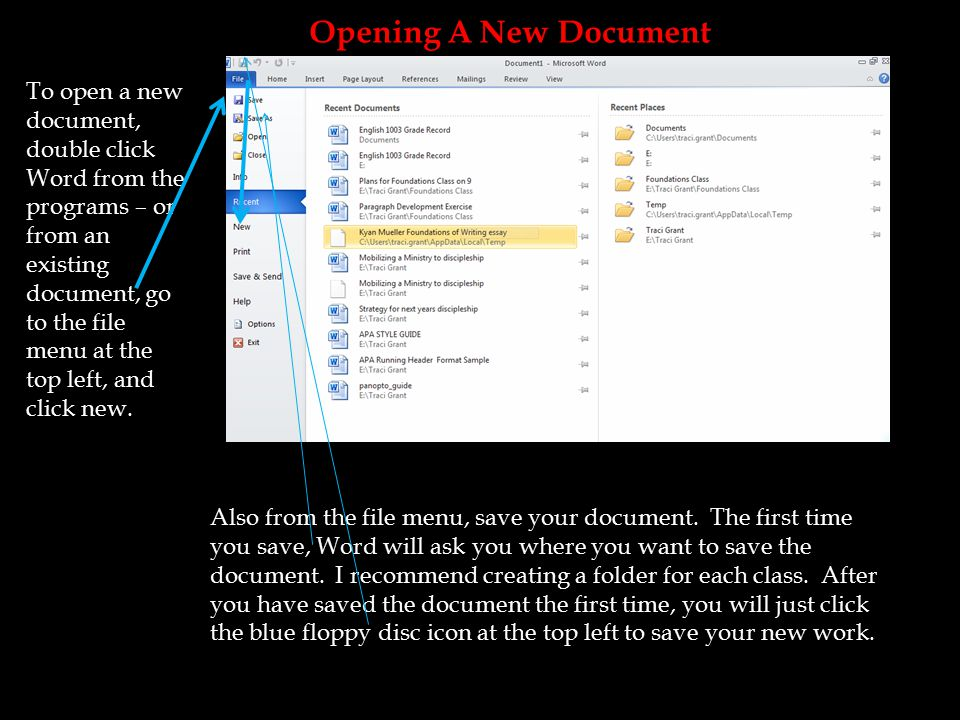 To open a new document, double click Word from the programs – or from an existing document, go to the file menu at the top left, and click new.