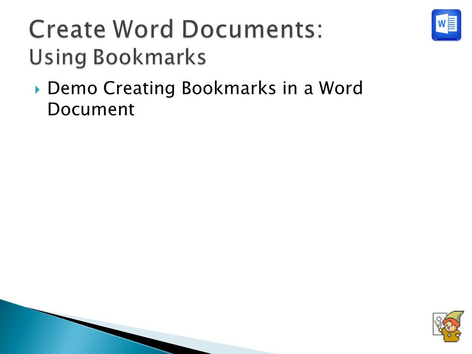 Demo Creating Bookmarks in a Word Document