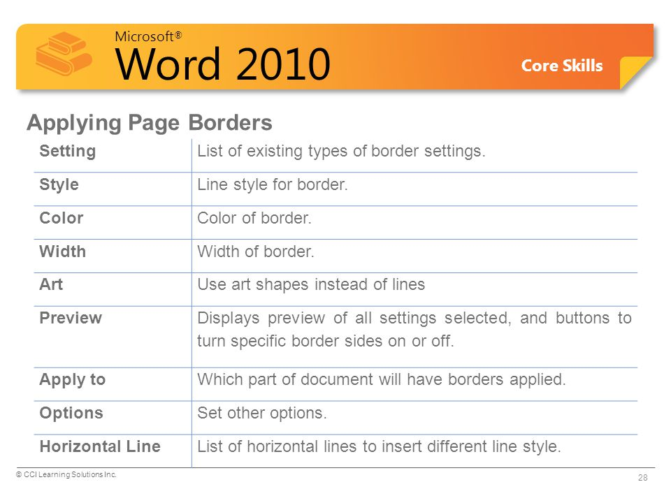 Microsoft ® Word 2010 Core Skills Applying Page Borders SettingList of existing types of border settings. StyleLine style for border. ColorColor of bo